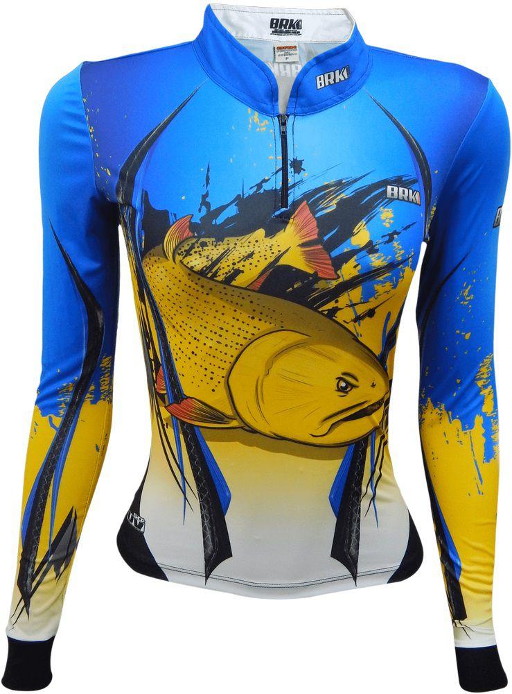 Camisa de Pesca Brk Feminina Dourado com FPU 50+