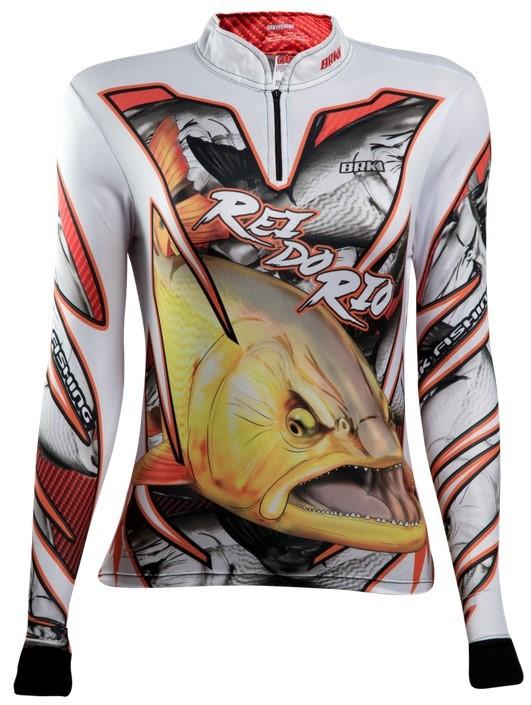Camisa de Pesca Brk Feminina Dourado Rei Do Rio 2 com FPU 50+