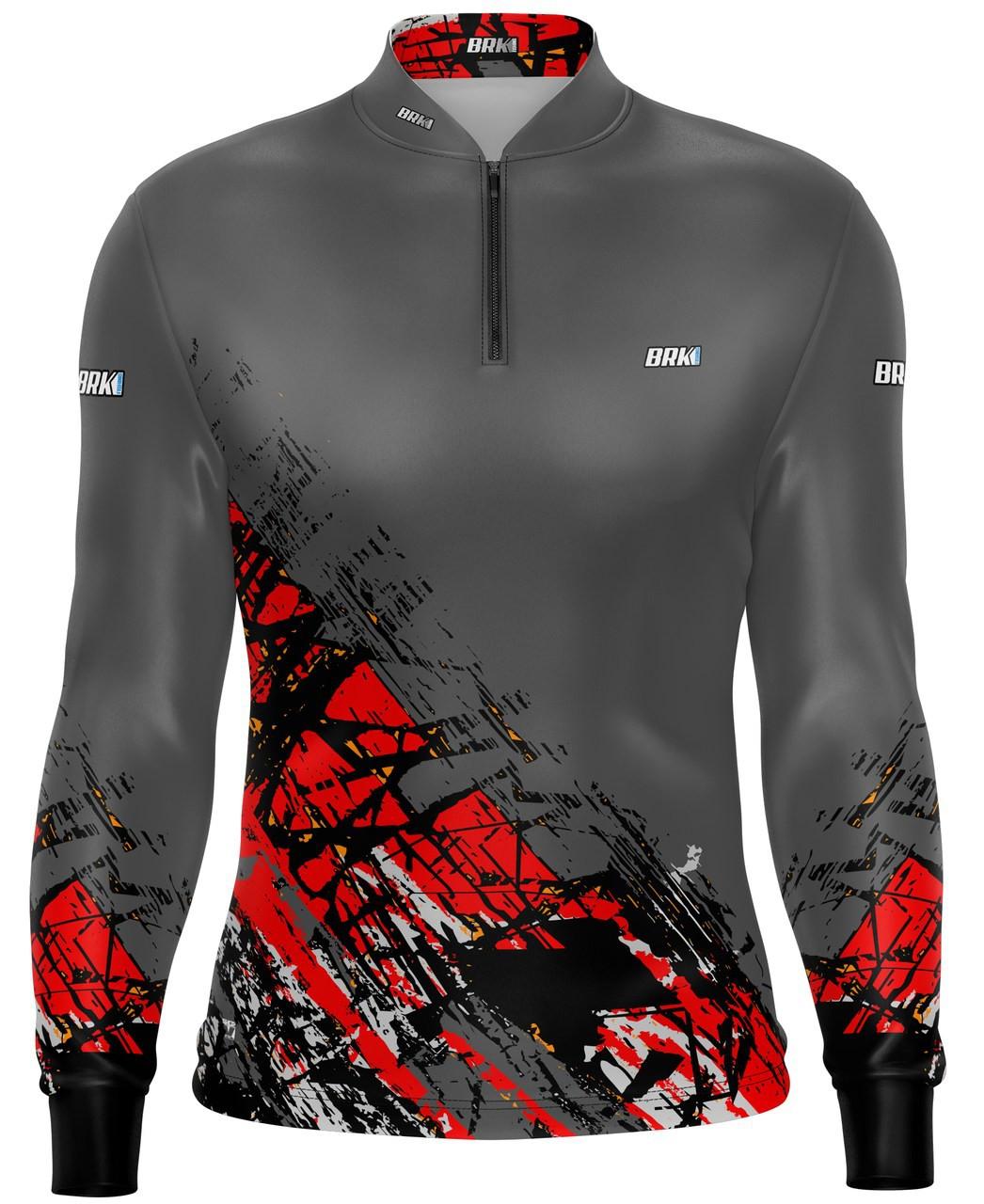 Camisa de Pesca Brk Graphic Cinza com Fps 50+