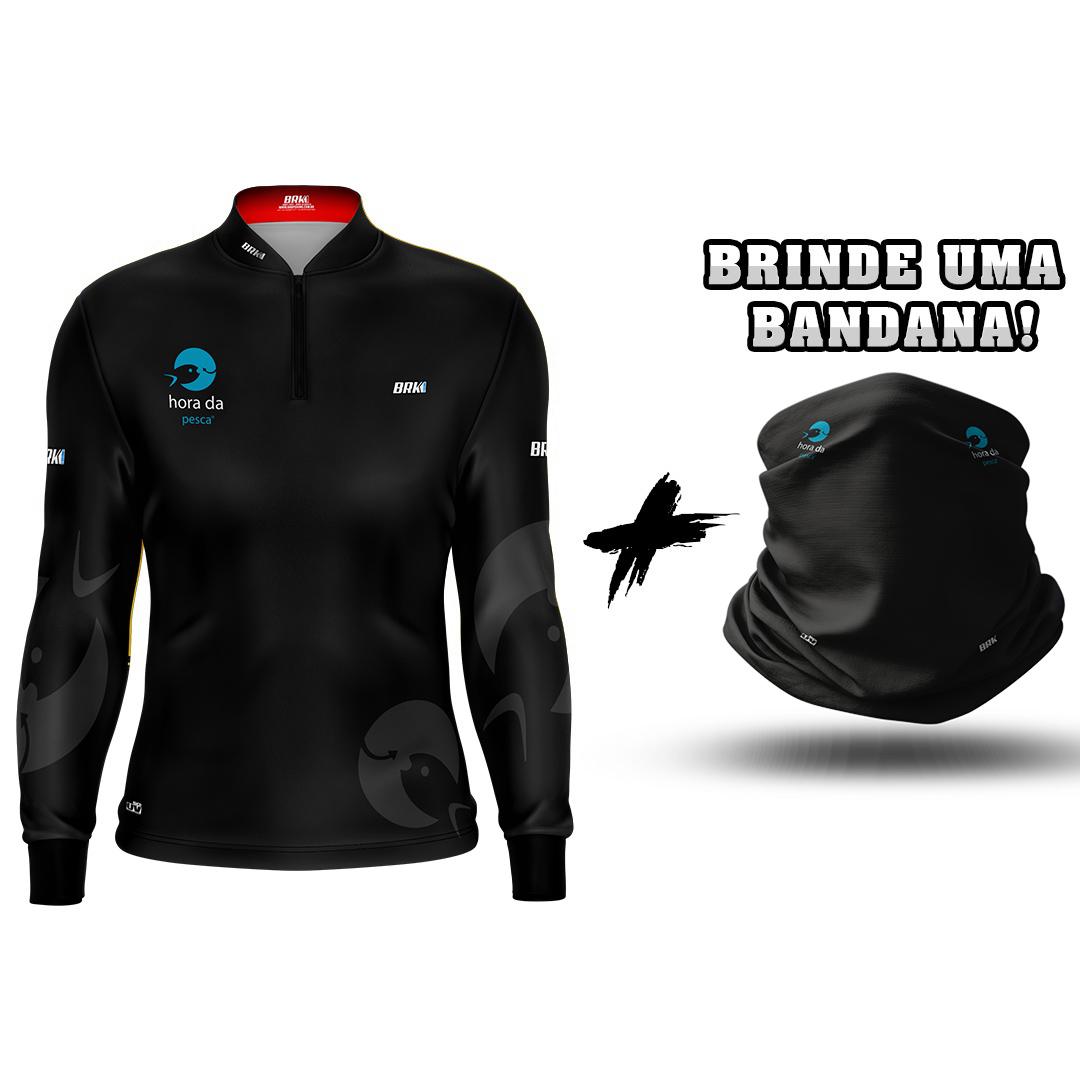 Camisa de Pesca Brk Programa Hora Da Pesca com Proteção UV 50+ com Tubeneck Brinde