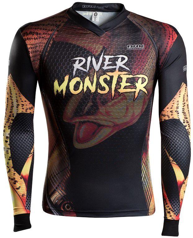 Camisa de Pesca Brk River Monster Dourado GOLA CONFORT V com FPU 50+