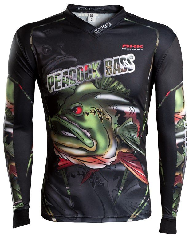 Camisa de Pesca Brk River Monster Peacock Bass GOLA CONFORT V com FPU 50+