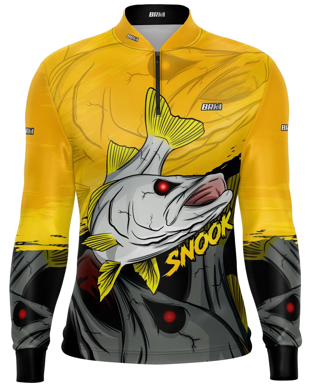Camisa de Pesca Brk Robalo Amarelo com Proteção UV 50+
