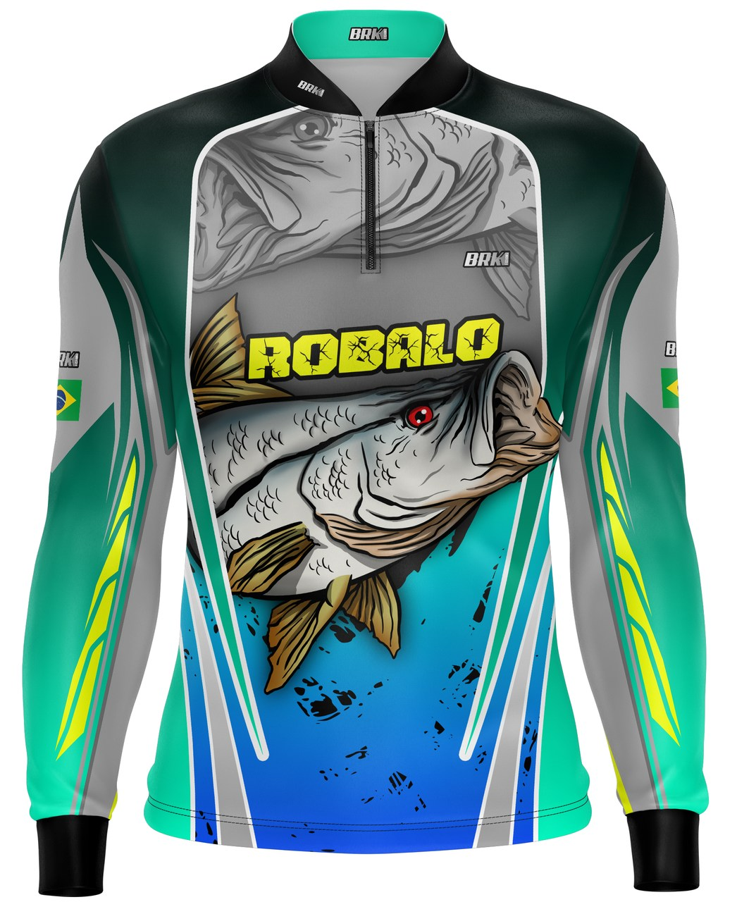 Camisa de Pesca Brk Robalo Cinza e Verde com Proteção UV 50+