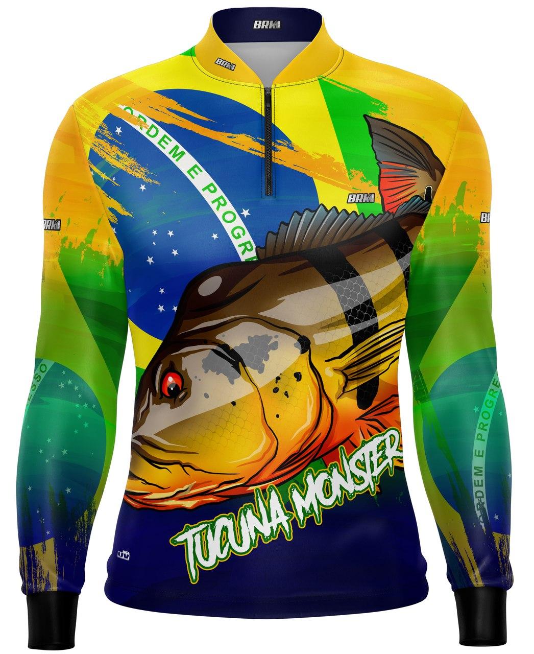 Camisa de Pesca Brk Tucunaré Açu Brasil com Proteção UV 50+