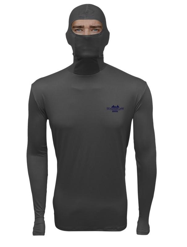 Camisa de Pesca com Capuz BRK Cinza Escuro com fpu50+