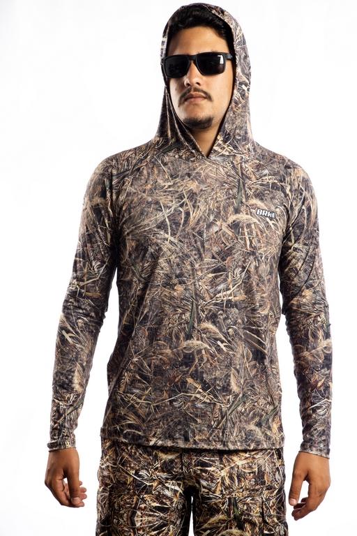Camisa de Pesca com Capuz Brk Real Tree com UV50+