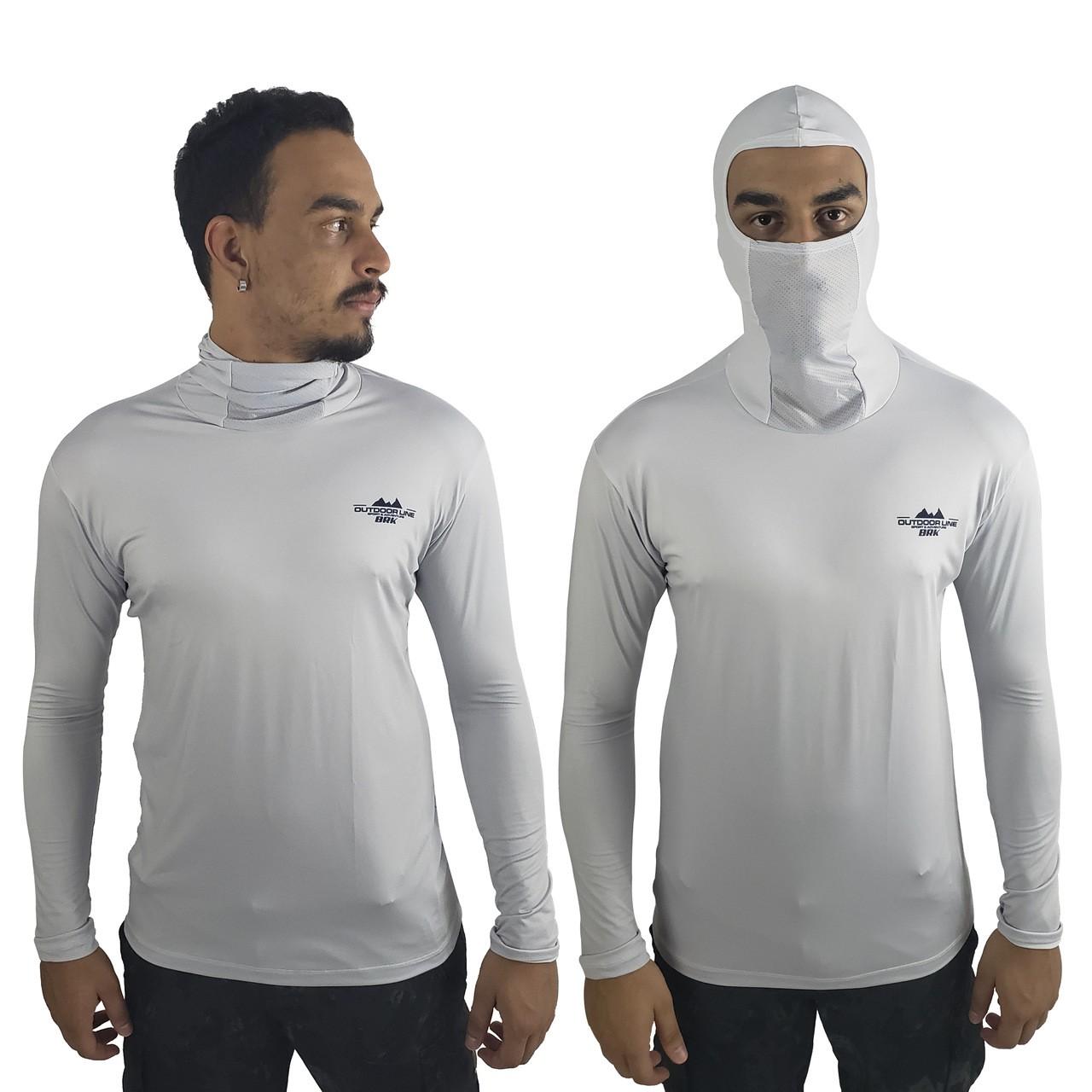 Camisa de Pesca com Capuz Ninja BRK Cinza Claro com fpu50+