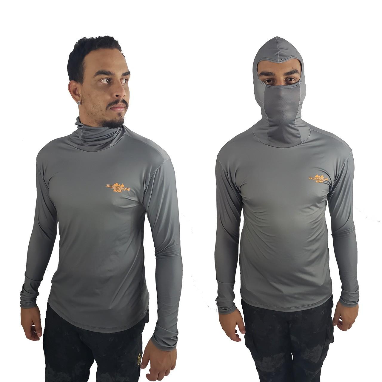 Camisa de Pesca com Capuz Ninja BRK Cinza Escuro com fpu50+