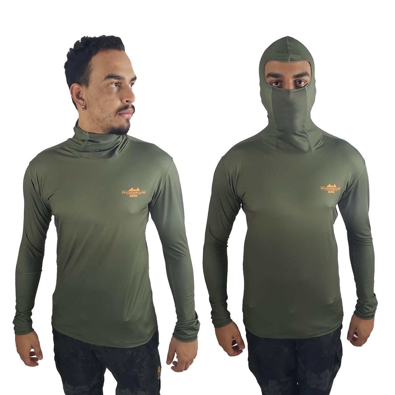 Camisa de Pesca com Capuz Ninja BRK Verde Musgo com fpu50+