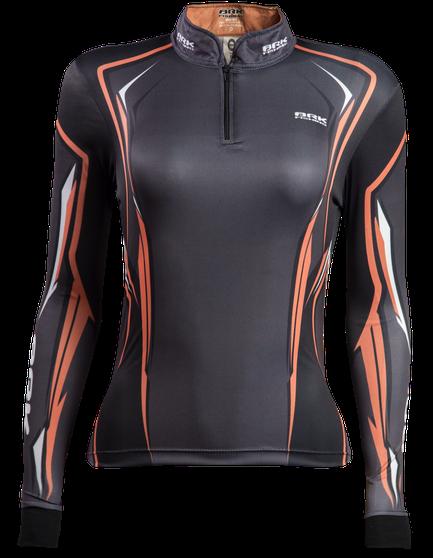 Camisa de Pesca Feminina Brk Orange Black 1.0 com FPU 50+