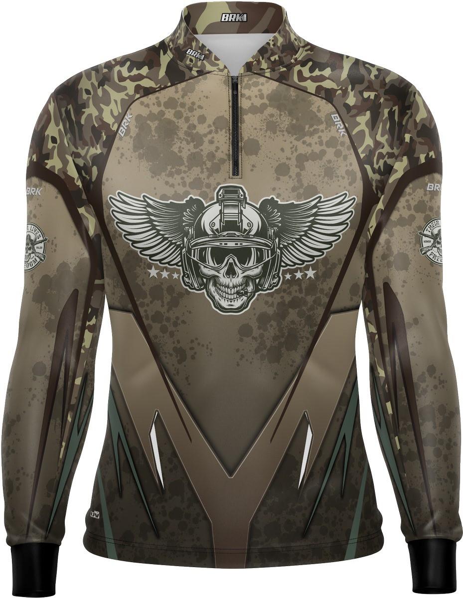 Camiseta Airsoft Brk Marrom Combate com FPU 50+