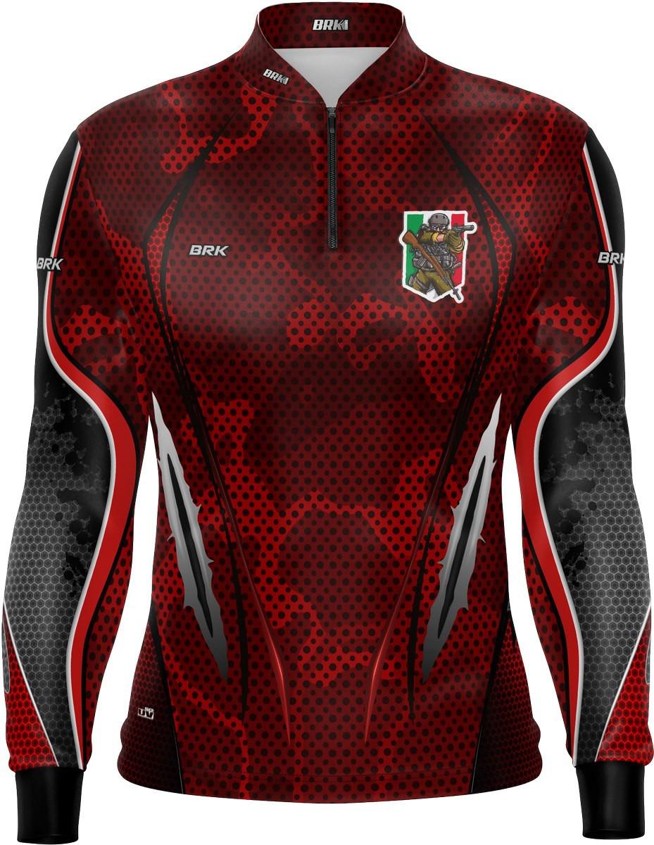 Camiseta Airsoft Brk Vermelho Itália com FPU 50+
