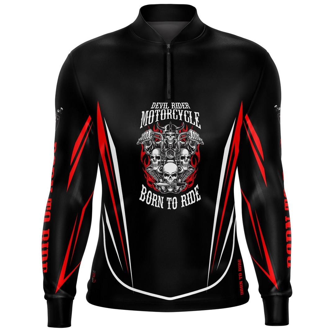 Camiseta Brk Motociclismo Custom Born To Ride com FPU 50+