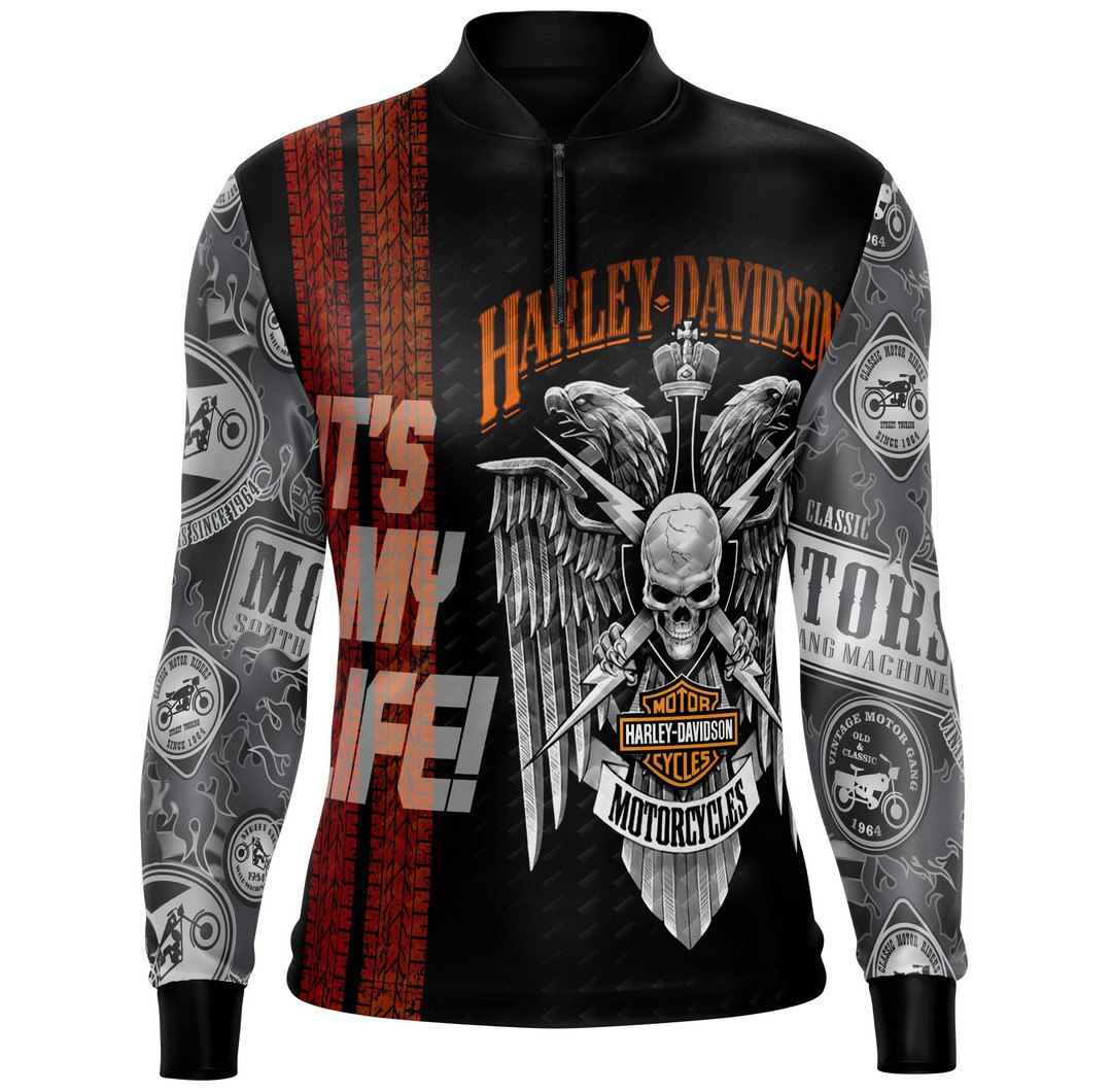 Camiseta Brk Motociclismo Harley Davidson Skull com FPU 50+