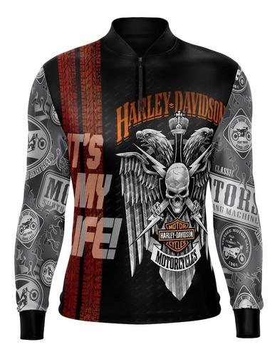 Camiseta Brk Motociclismo Harley Davidson V2 Com Fpu 50+