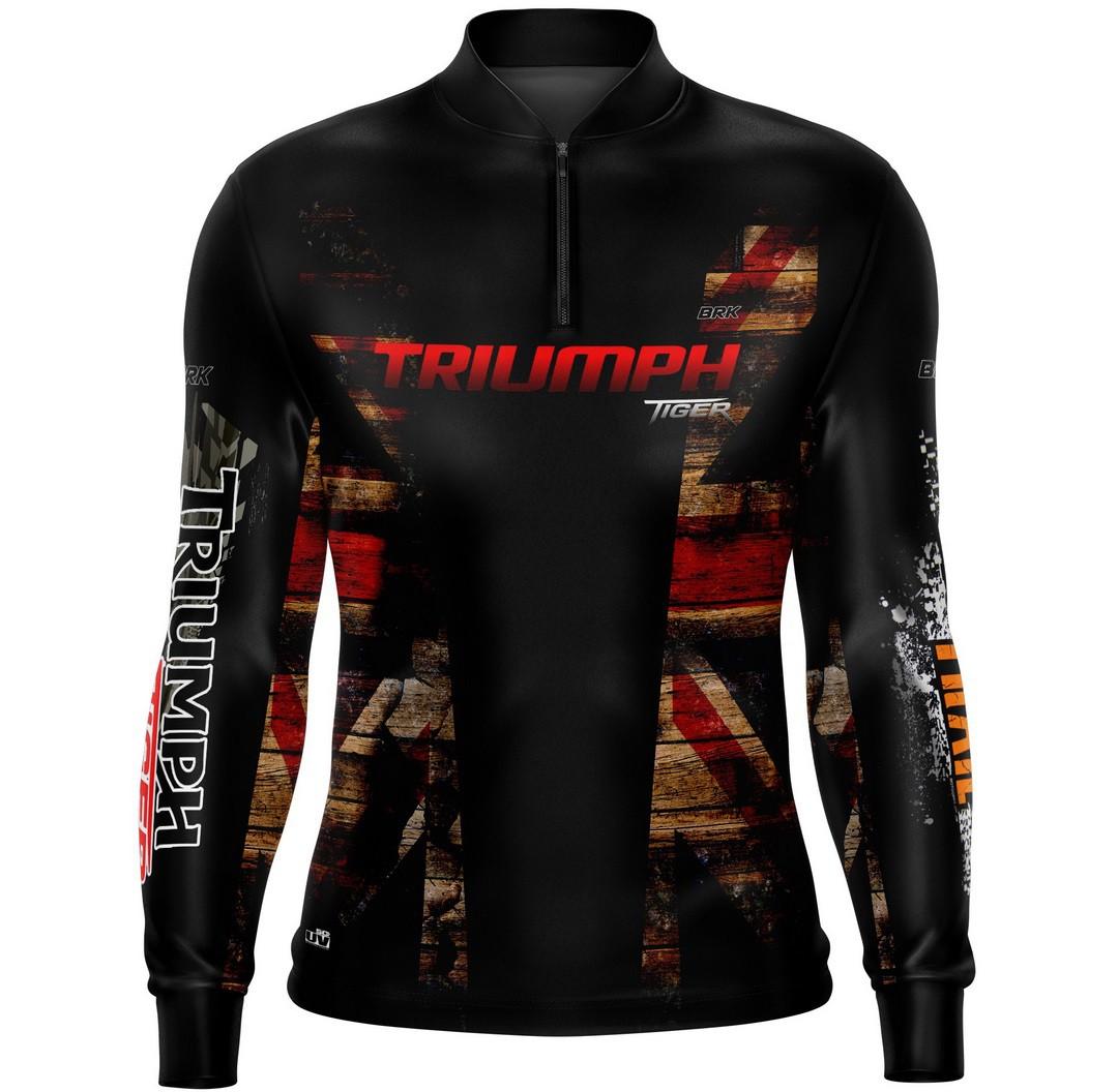 Camiseta Brk Motociclismo Triumph Tiger 800 com FPU 50+