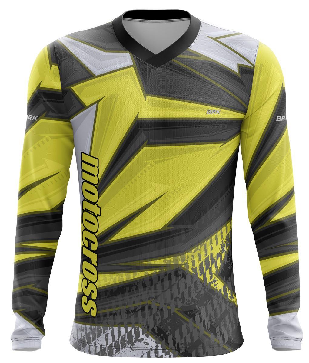 Camiseta Brk Motocross Amarelo com Cinza com fps 50+