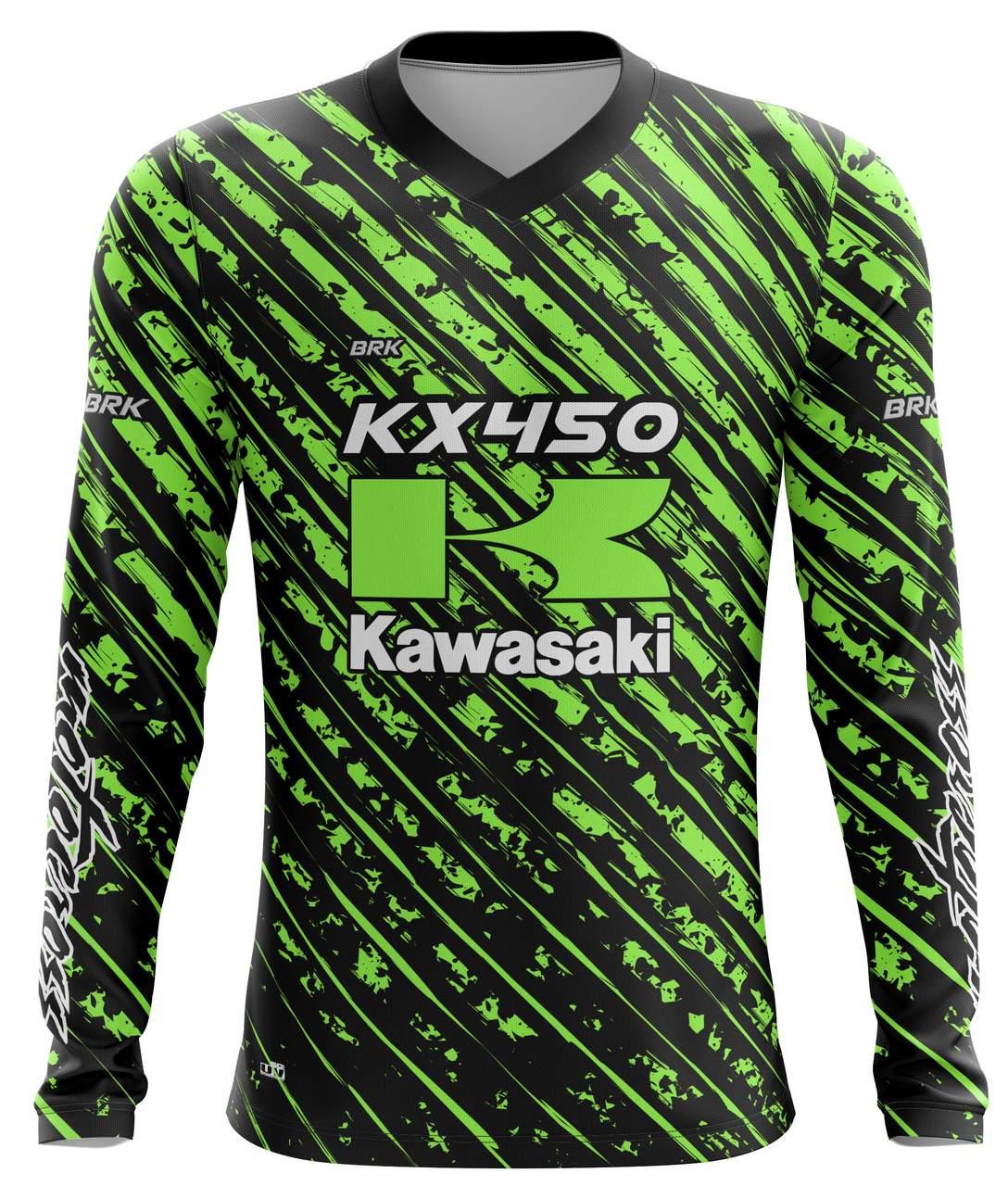 Camiseta Brk Motocross Kawasaki KX 450 com FPU 50+