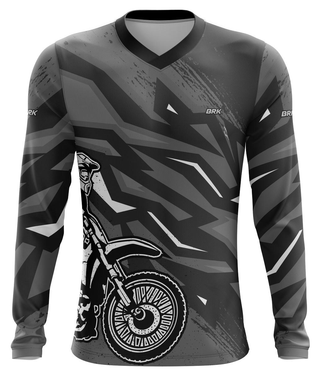 Camiseta Brk Motocross Preto com Cinza com fps 50+