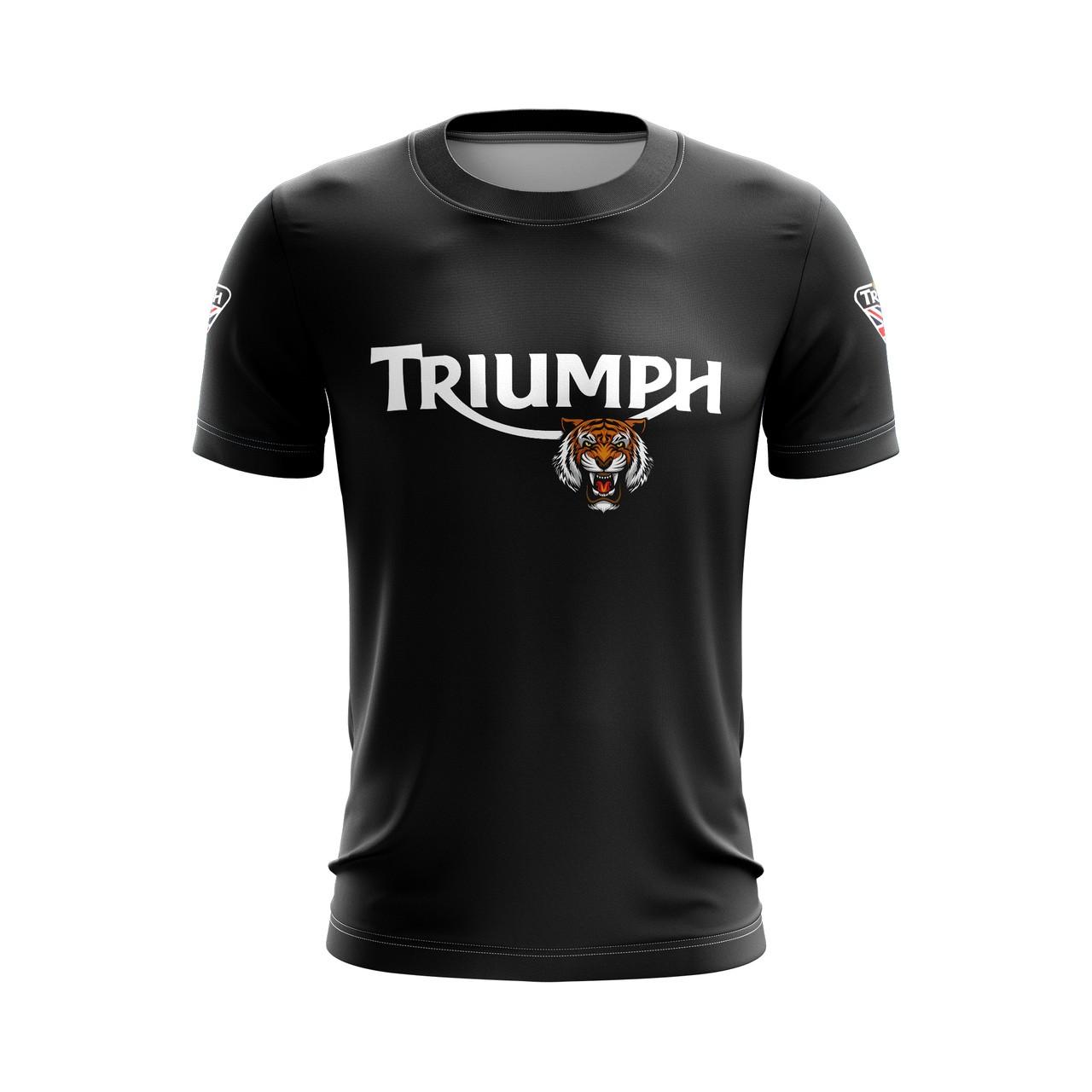 Camiseta Casual Brk Motociclismo Triumph Ride a Tiger com FPU 50+