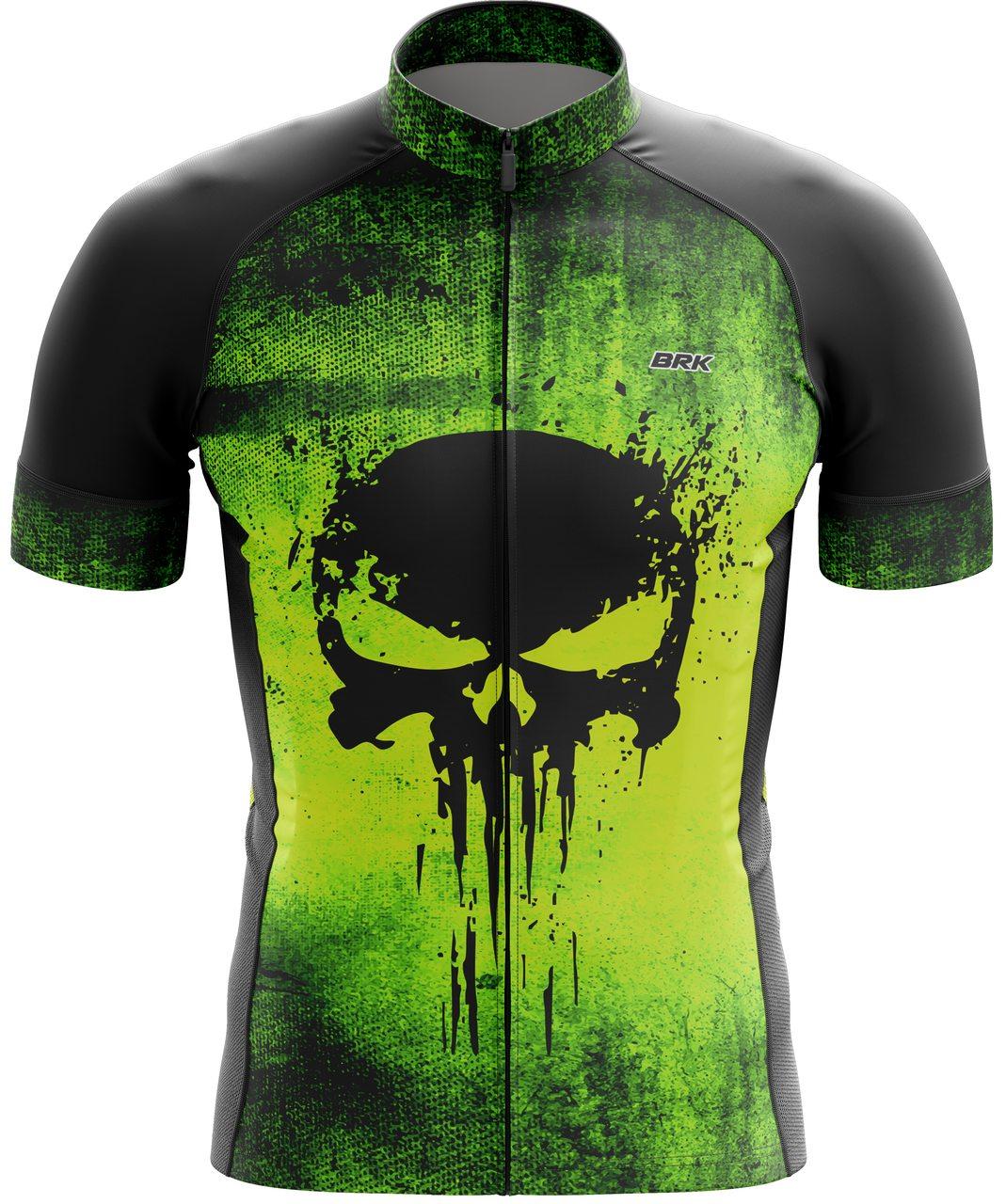 Camisa Ciclismo Brk The Punisher Verde com FPU 50+