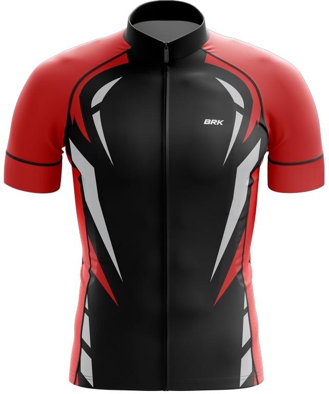 Camisa Ciclismo Brk Vermelho e Preto com FPU 50+