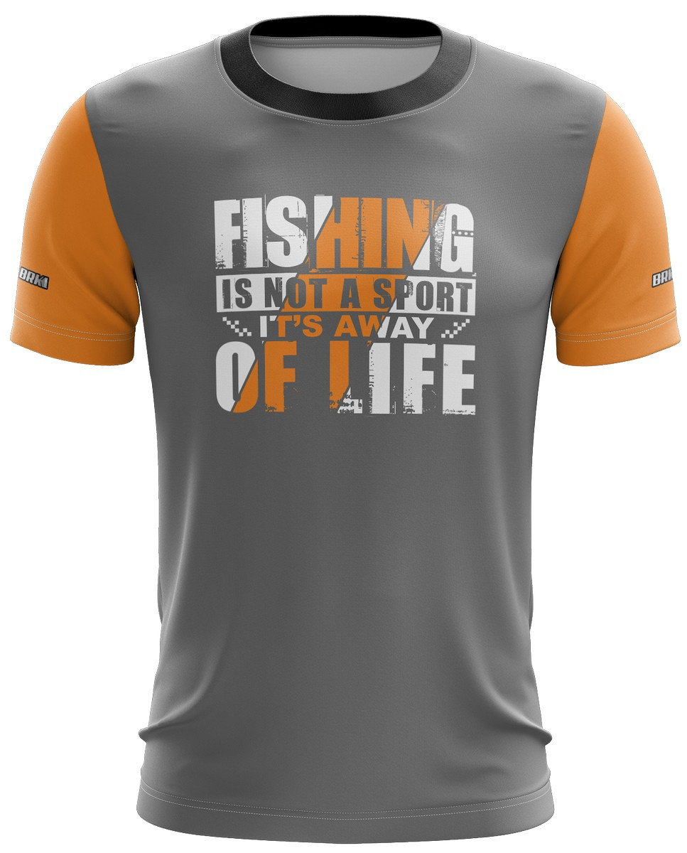 Camiseta Cinza com Laranja Casual 04 Brk Tecido Dry
