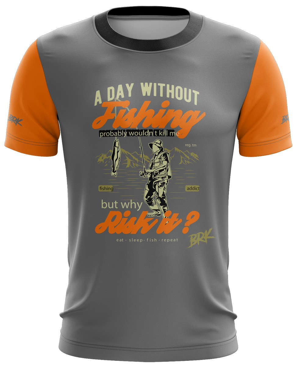 Camiseta Laranja com Cinza Casual 07 Brk Tecido Dry