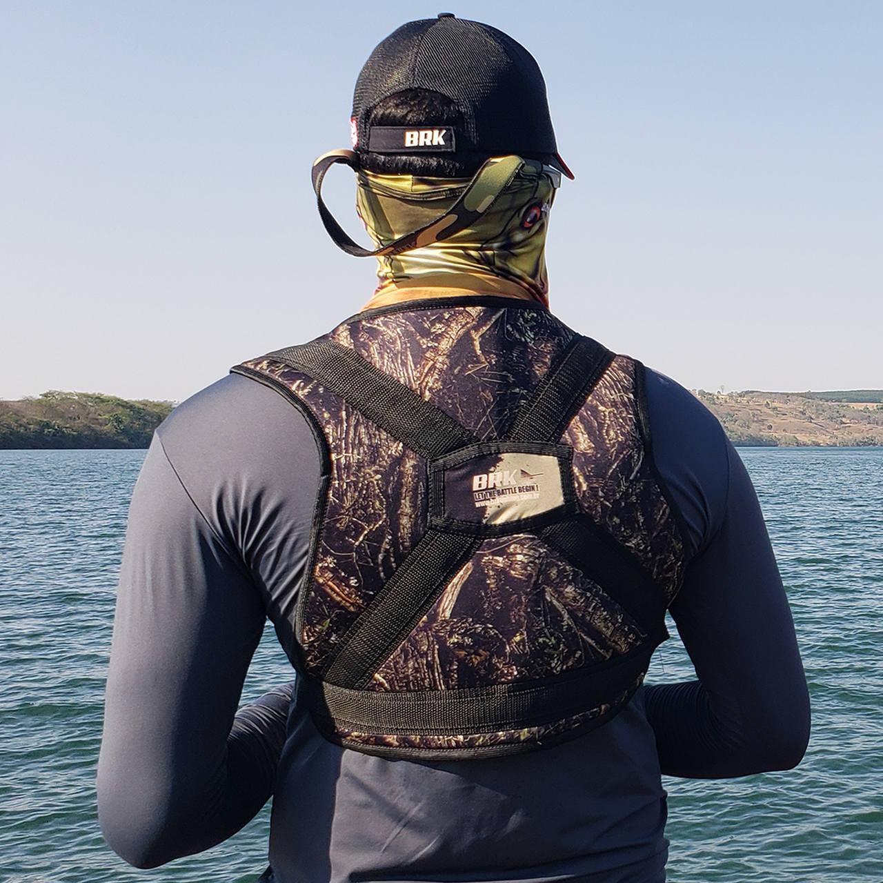 Colete para Carretilha para Pesca Pesada Brk Big Fish Camo Verde