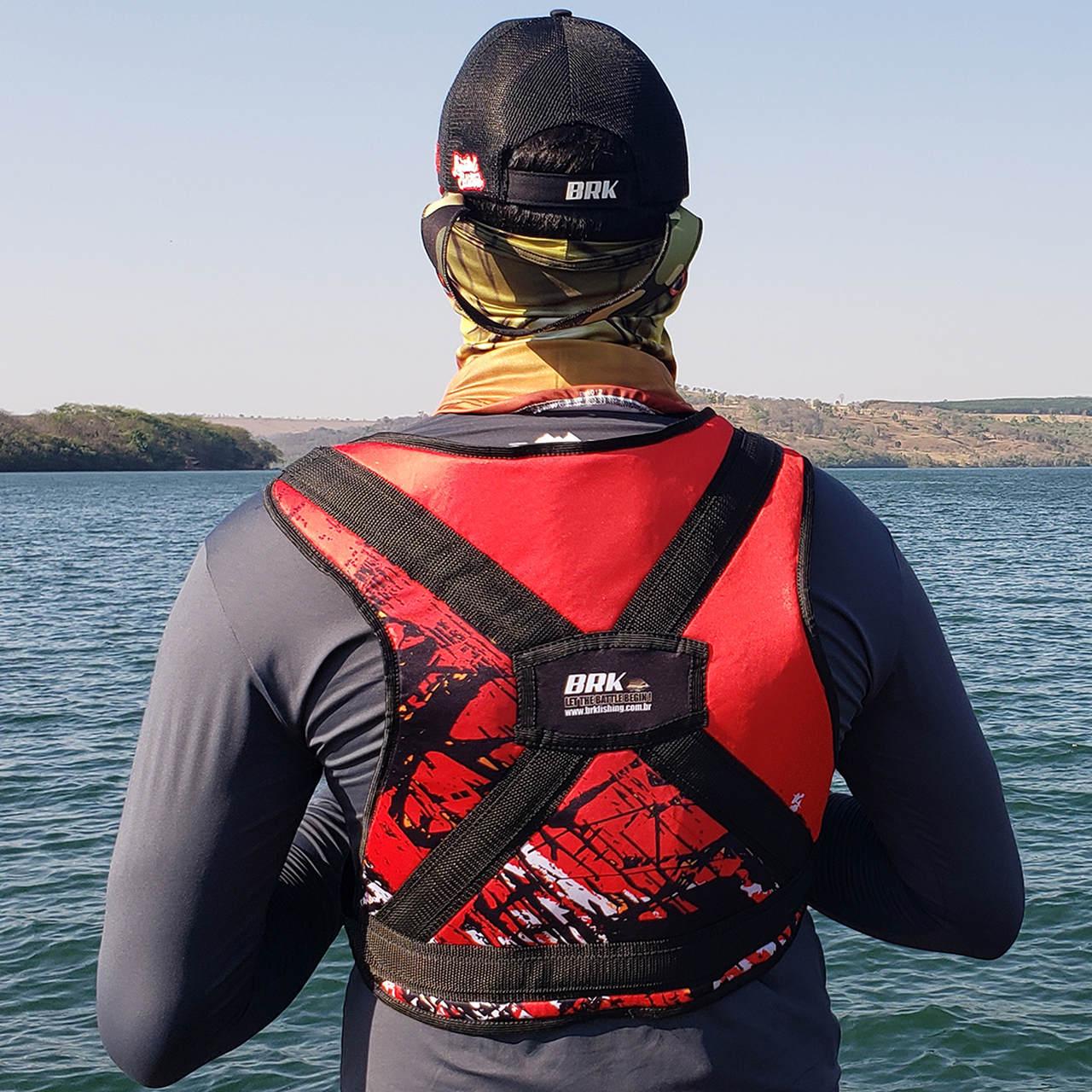 Colete para Carretilha para Pesca Pesada Brk Big Fish Vermelho-Preto