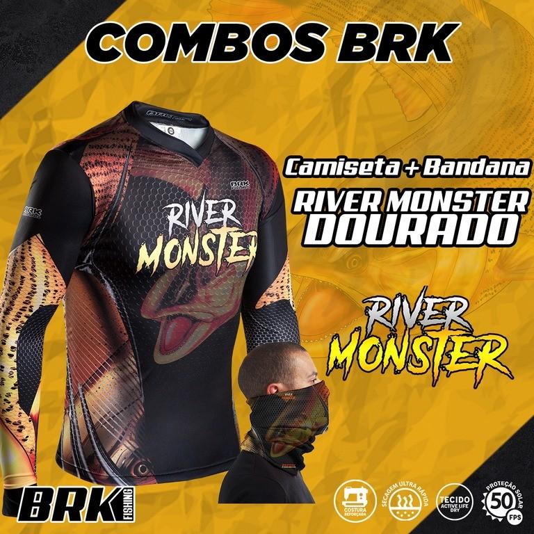 Combo River Monster Brk Dourado Camiseta + Bandana com FPU 50+