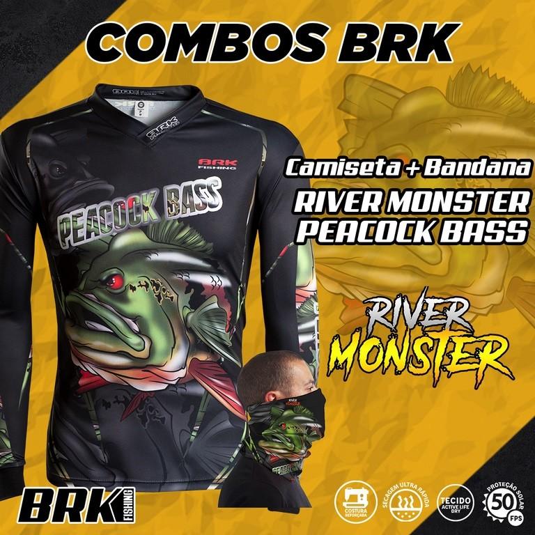 Combo River Monster Brk Peacock Bass Camiseta + Bandana com FPU 50+