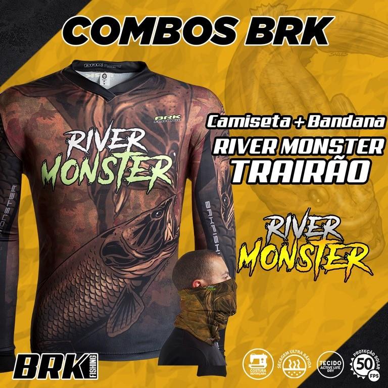 Combo River Monster Brk Traírão Camiseta + Bandana com FPU 50+