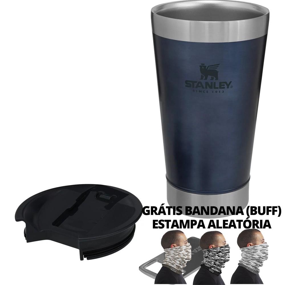 Copo Térmico de Cerveja Stanley Azul 473ml Tampa Acoplada