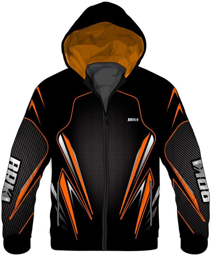 Jaqueta Corta Vento Brk Orange Black Repelente à água com FPU 50+