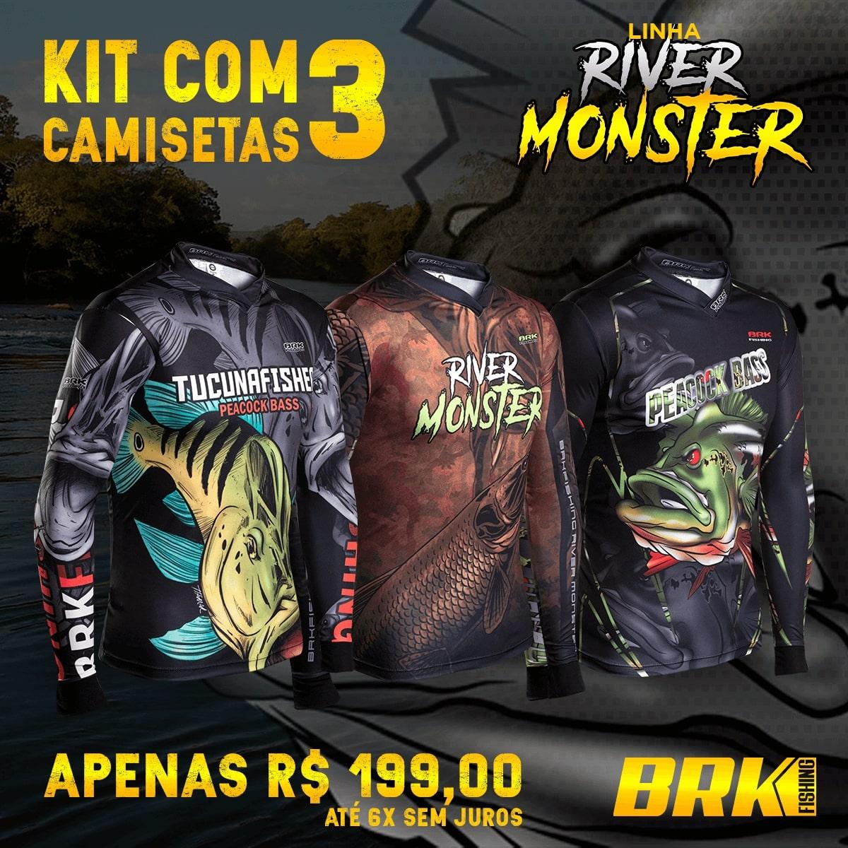 Kit 01 - 3 Camisetas de Pesca Brk Linha River Monster