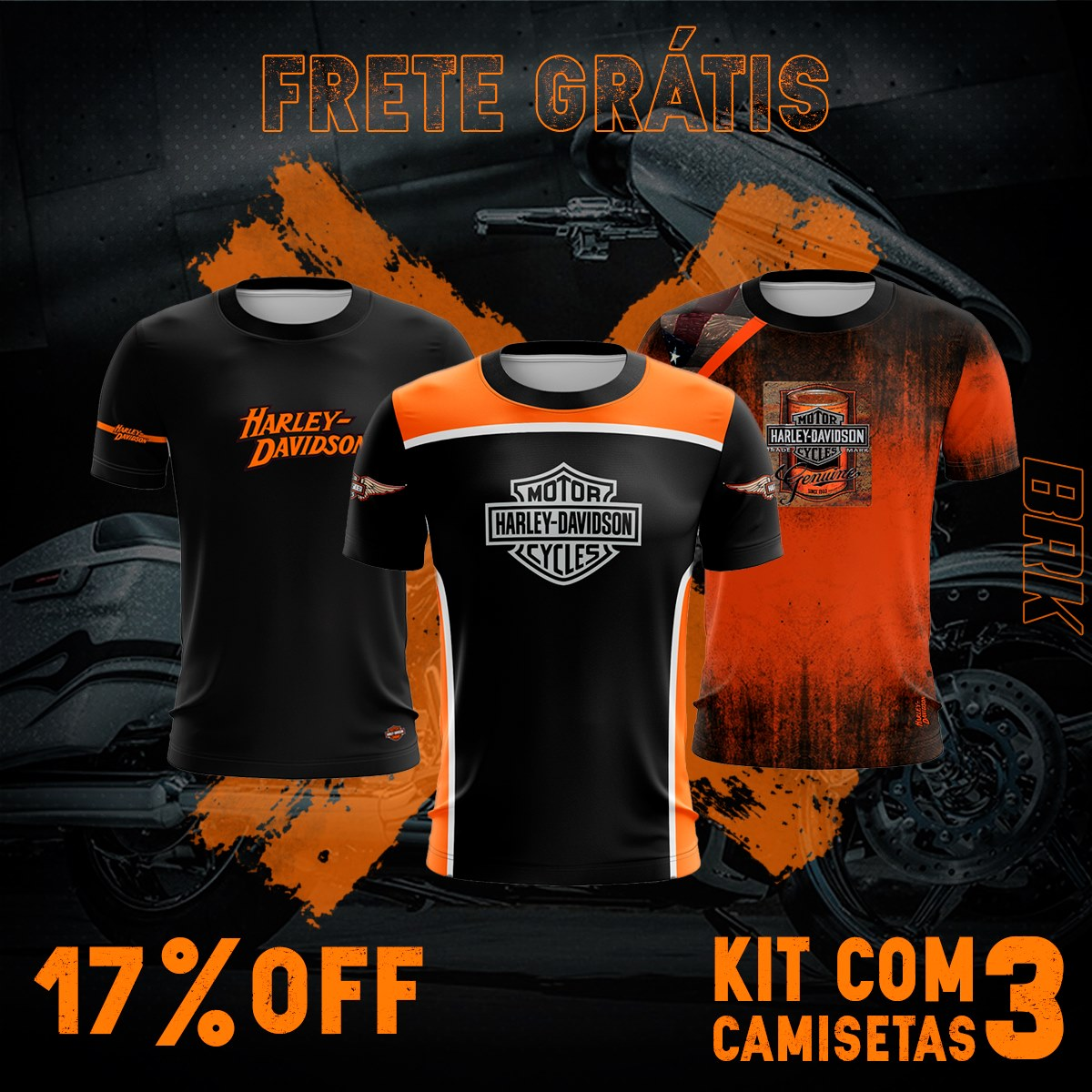 Kit 3 Camisetas Brk Motociclismo Harley Davidson com FPU 50+