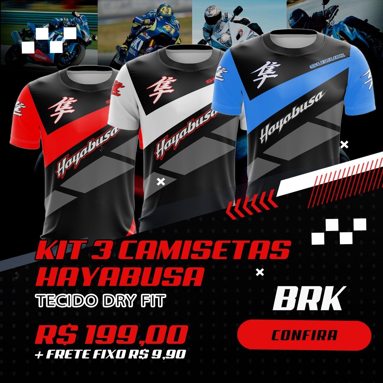 Kit 3 Camisetas Brk Motociclismo Hayabusa com FPU 50+