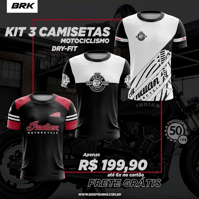 Kit 3 Camisetas Brk Motociclismo Indian com FPU 50+