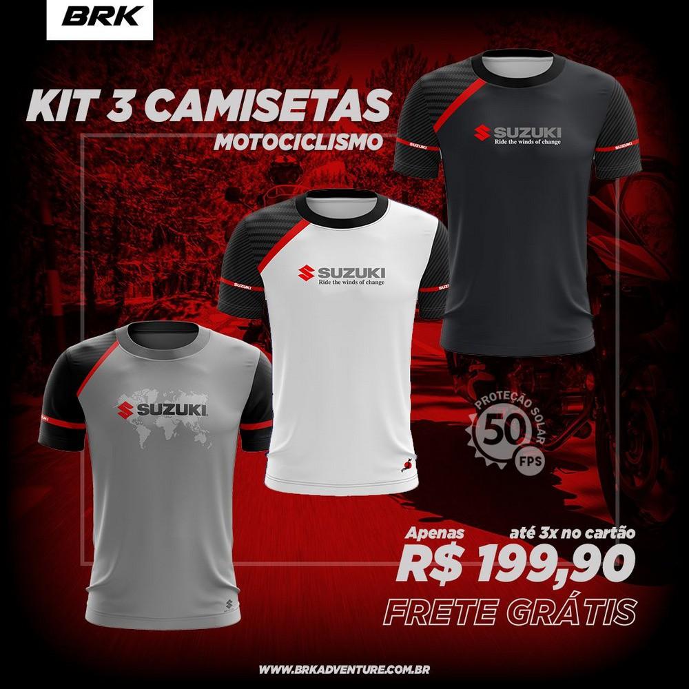 Kit 3 Camisetas Brk Motociclismo Suzuki com FPU 50+