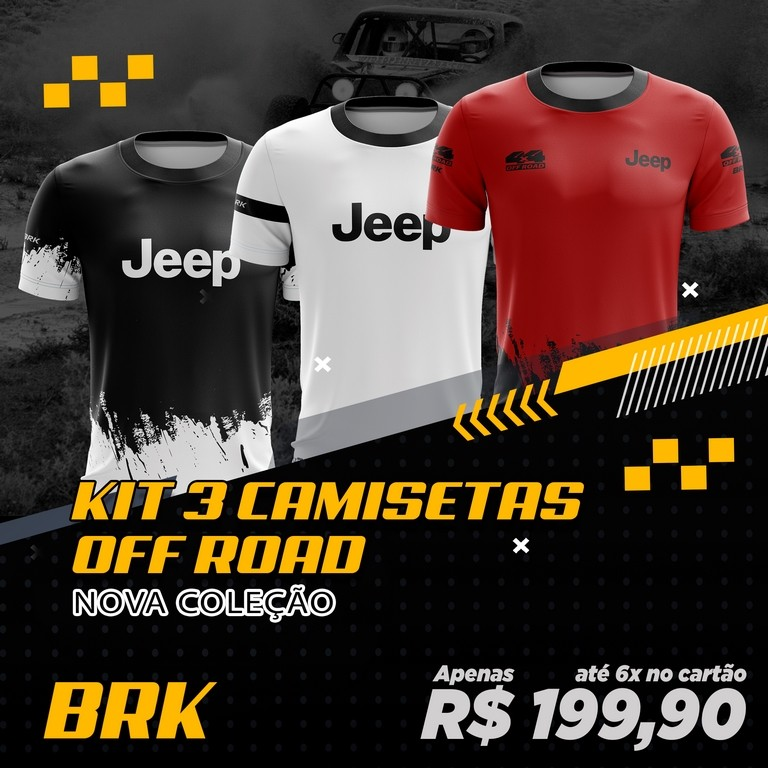 Kit 3 Camisetas Brk Off Road Jeep com FPU 50+