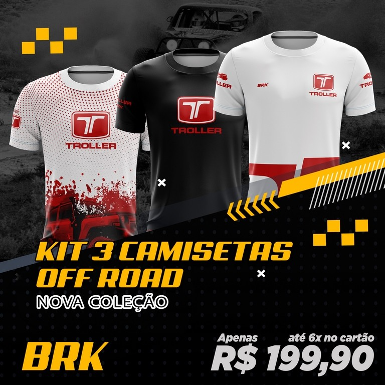 Kit 3 Camisetas Brk Off Road Troller com FPU 50+