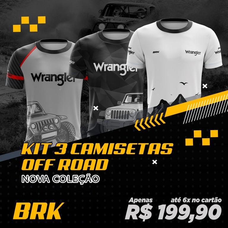 Kit 3 Camisetas Brk Off Road Wrangler com FPU 50+
