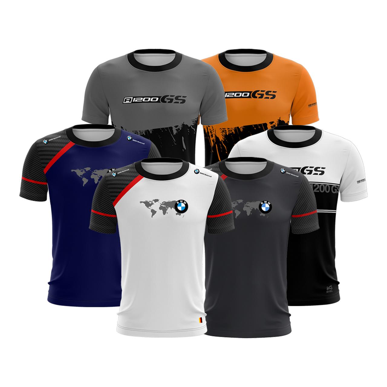 Kit 6 Camisetas Brk Motociclismo Casual BMW GS com UV50+