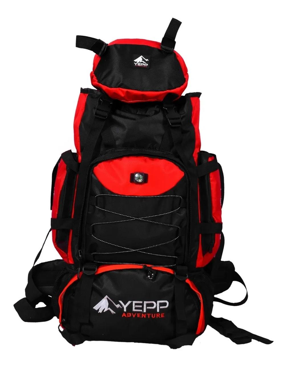 Mochila Trilha Camping Yepp Adventure 75 Litros Vermelho - Preto