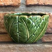 Bowl de Cerâmica Folha de Bananeira Verde