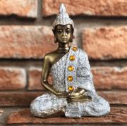 Buda Meditando Prata e Dourado de Resina