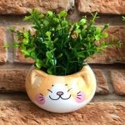 Vaso Cachepot Decorativo Gato Porcelana