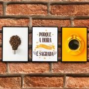 Kit Trio de Quadros Decorativos Café